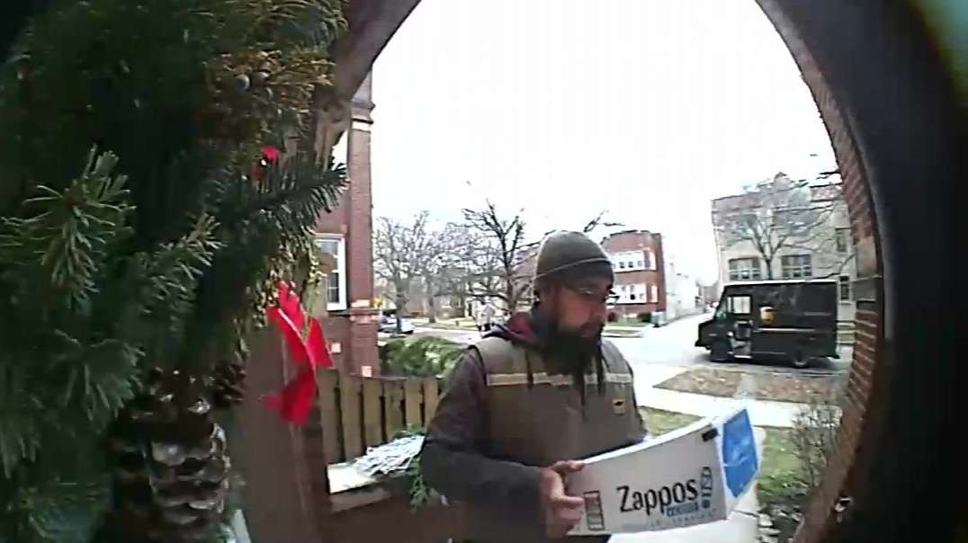 Squirrel Gives UPS Driver A Friendly Welcome